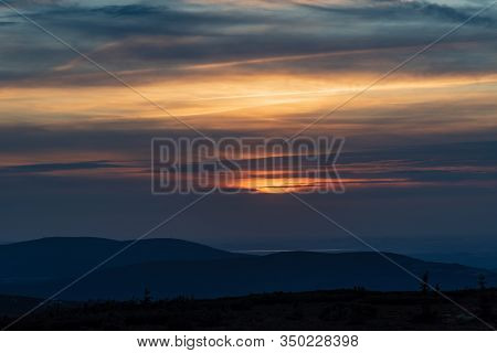 Sunset With Clouds,colorful Sky And Smrk With Stog Izerski Hill In Jizerske Hory Mountains From Snez