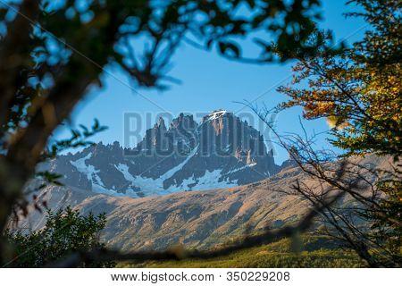 Snow capped mountain of Cerro Castillo in Chilean Patagonia