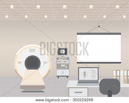 Hospital Interior With Mri Scanner Vector Illustration