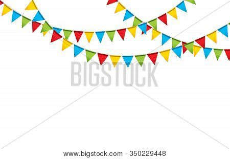 Carnival Garland With Flags. Decorative Colorful Party Pennants For Birthday Celebration, Festival