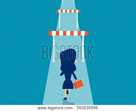 Woman Hurdle. Concept Business Effort Vector Illustration, Successful, Goal, Flat Kid Business Carto