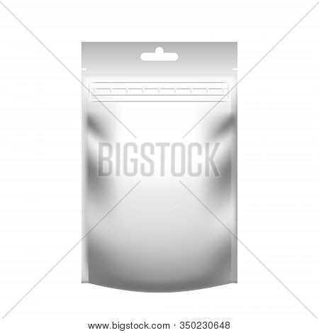 Realistic Blank White Pouch Doypack With Zip Lock