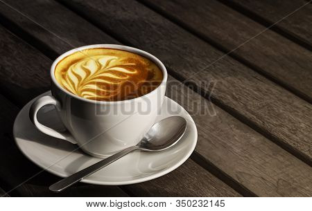 Coffee Photography With Luxury Coffee Cup Set Vintage White Color With Latte Art Coffee Leaf Shape D