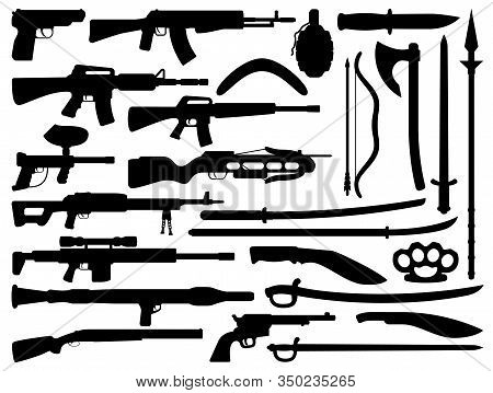 Weapon Black Vector Silhouettes With Guns, Grenade And Knives, Firearms And Melee Weapons. Rifle, Sh