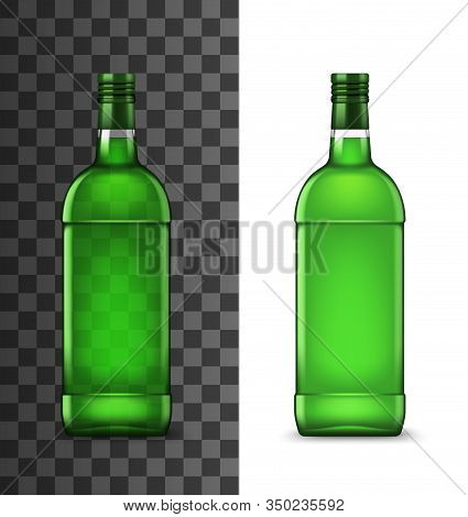 Green Glass Bottle Realistic Vector Illustration, Alcohol Drink. Mint Liqueur, Cocktail And Absinth