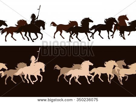 Native American Tribal Chief Riding Horse Among Galloping Mustang Herd - Horizontally Seamless Vecto