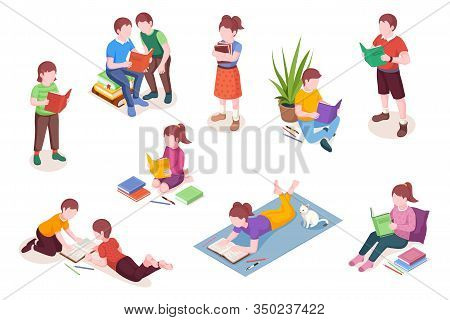 Set Of Isolated Isometric Child Reading Books. Boy And Girl With Textbook Vector Illustration. Presc