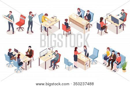 Recruitment Agency Workers In Isometric View. Hr Workers Recruit Candidate Or Hire Applicants. Job I