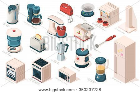 Kitchen Appliance Set, Equipment, Item For Cooking. Kettle, Coffee Maker Machine, Mixer, Meat Grinde