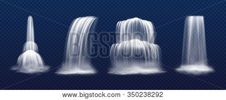 Set Of Isolated Realistic Vector Cascade Waterfall Isolated On Transparent Background. Mountain Fall