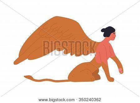 Female Mythology Fantastic Creature Sphinx Vector Flat Illustration. Ancient Cartoon Character Woman