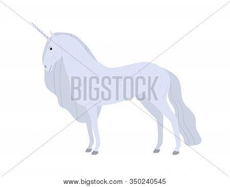Beautiful Fantasy White Unicorn Vector Flat Illustration. Cartoon Magical Mythical Creature Horse Wi