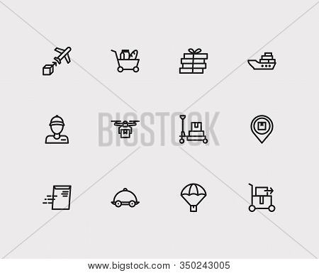 Delivery Icons Set. Airplane Delivery And Delivery Icons With Parachute Delivery, Delivery Export An