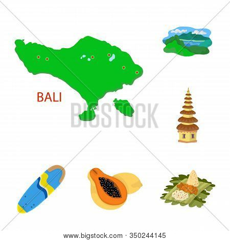 Isolated Object Of Bali And Indonesia Icon. Set Of Bali And Caribbean Stock Vector Illustration.