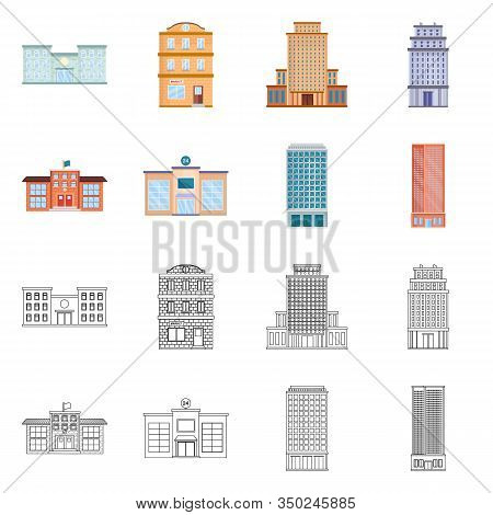 Isolated Object Of Municipal And Center Symbol. Collection Of Municipal And Estate Stock Vector Illu