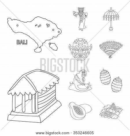 Isolated Object Of Balinese And Caribbean Icon. Collection Of Balinese And Geography Stock Vector Il