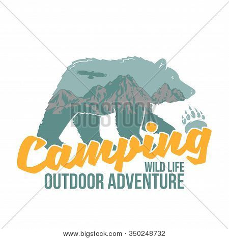 Vintage Logo Style Print Design Vector Illustration With Wildlife Animal Of Grizzly Bear With Great