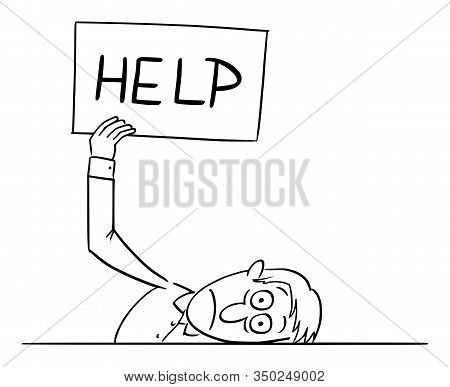 Funny Comic Cartoon Drawing Of Sick, Depressed Or Frustrated Or Stressed Man Or Businessman Lying On