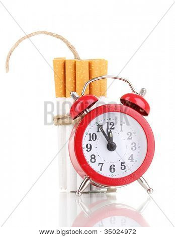 Cigarettes tied with rope and wick isolateed on white poster