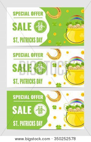 Set Of Gorizontal Banners For Saint Patricks Day Sale With Gold Coins, Horseshoe, Golden Pot, Rainbo