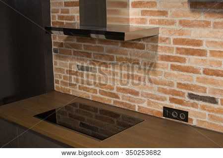 Modern Kitchen With Electric Oven, Electic Stove And Exhauster Kitchen Fan Or Range Hood. Modern Air
