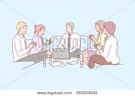 Business, Team, Success, Congratulation, Applause Concept. Group Of Business People Applause In Hono