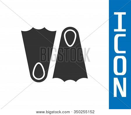 Grey Rubber Flippers For Swimming Icon Isolated On White Background. Diving Equipment. Extreme Sport