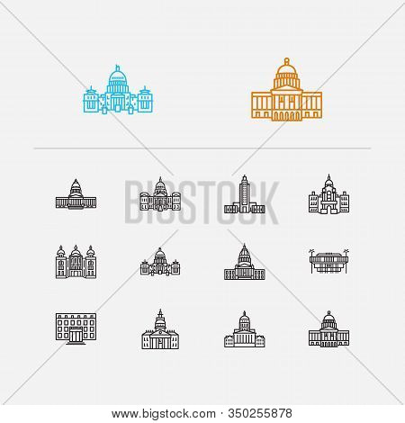 Us Capitols Icons Set. Alaska State Capitol And Us Capitols Icons With Cathedral, Landmark, Architec