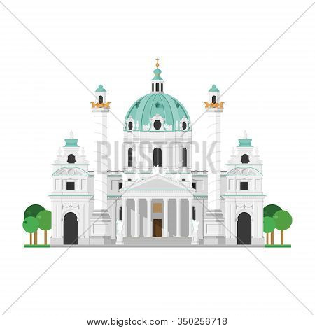 St. Charles' Church (vienna, Austria). Isolated On White Background Vector Illustration.