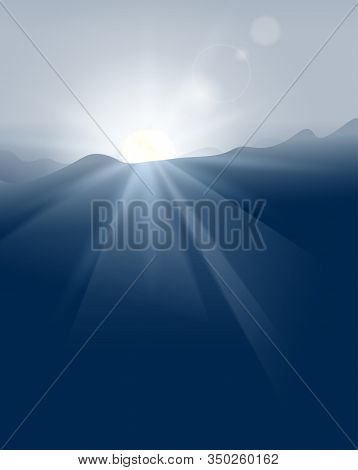 Abstract Blue Sunset With Defocused Lights Vector