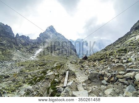 Clouds Moving Over The High Tatras Mountains Near Chata Pod Rysmi, The Highest Mountain Chalet In Hi