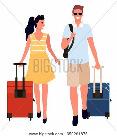 Couple With Bags Traveling In Different Destinations Vector, Isolated Man And Woman Carrying Luggage
