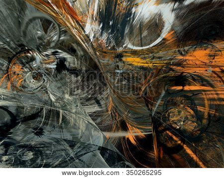Black And White Abstract Fractal Background 3D Rendering Illustration