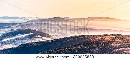 Hilly Landscape On Sunny And Foggy Day. Weather Inversion. Jested - Kozakov Ridge, Czech Republic