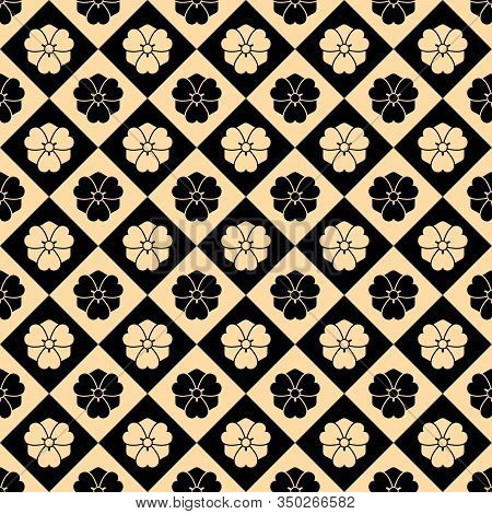 Seamless Vector Pattern In Traditional Asian Style. Stylized Cherry Blossom In A Rhombus. Japanese S