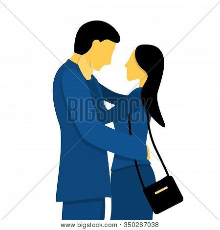 A Couple Of Lovely Lovers. Flat Vector Illustration In Trendy Colors.