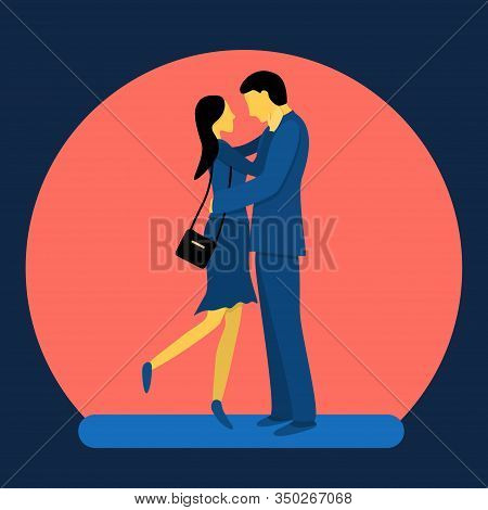 A Couple Of Lovely Lovers. Flat Vector Illustration In Trendy Colors