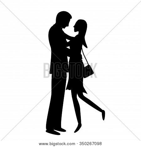 A Couple Of Cute Lovers. Flat Vector Silhouette Illustration.