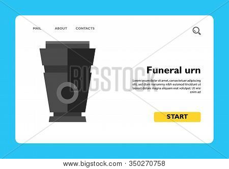 Icon Of Funeral Urn. Corpse, Grief, Embalming. Funeral Service Concept. Can Be Used For Topics Like