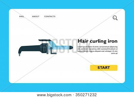 Vector Icon Of Hair Curling Iron. Hairstylist, Barbershop, Hairdressing Salon. Hairdresser Tools Con