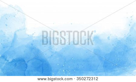 Abstract Of Blue Watercolor Background. Watercolor Hand-drawn Design For Banner, Invitation, Poster,