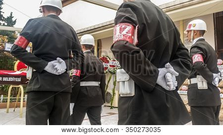 Izmir, Turkey - November 30, 2017: Turkish Soldiers  Standing In The At Ease Position For The Funera