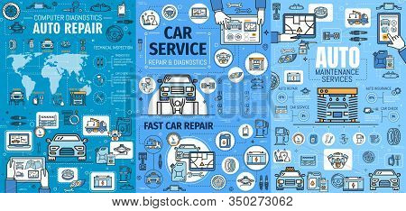 Car Service, Auto Repair, Maintenance And Diagnostics Vector Infographics. Graphs, Charts And World