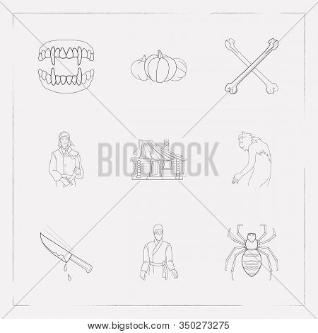 Set Of Halloween Icons Line Style Symbols With Small Hut, Gourd, Chopping Knife With Blood And Other
