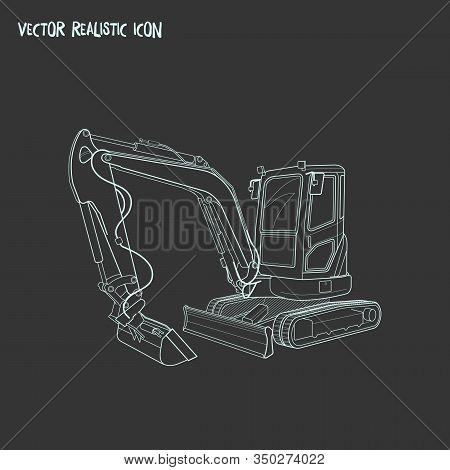 Compact Excavator Icon Line Element. Vector Illustration Of Compact Excavator Icon Line Isolated On