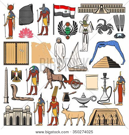 Egypt Vector Icons With Ancient Egyptian Travel Landmarks, Religion And Culture Symbols. Flag And Ma
