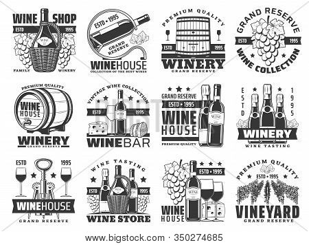 Wine Bottle, Barrel And Grape Bunch Vector Icons Of Winery And Alcohol Drinks Design. Wine And Champ