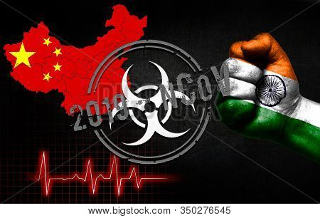 The Concept Of An Epidemic In China With A Virus Named 2019-cov, With The Flag Of India On The Fist