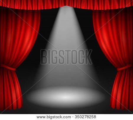 Theater Stage With Red Curtains And Spotlight. Vector Background With Open Velvet Drapes And Beam Of