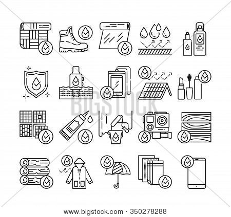 Waterproof Tools Black Line Icons Set. Water Repellent Coating Constructions Materials, Devices, Clo